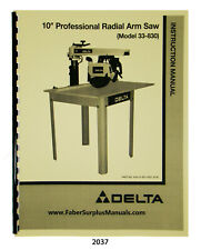 """Delta 10"""" Professional Radial Arm Saw 33-830 Instruction & Parts Manual #2037"""