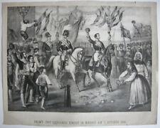 Juan Prim y Prats y Serrano entran Madrid 7. Oct. 1868 Orig Lithografia 1870