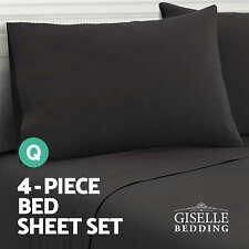 Soft Microfibre Bed Sheet Set Fitted Flat Pillow Case 4 Piece Mattress Protector Black - Queen