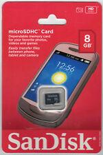 SanDisk 8GB microSD 8G microSDHC class 4 C4 micro SD SDHC flash card W/O adapter