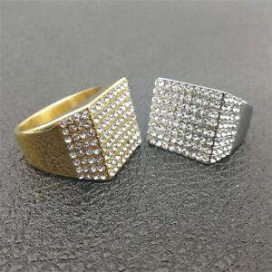 Men's Hip Hop Stainless Steel Lab Diamond Full Iced Bling Pinky Ring SIZE 8~12