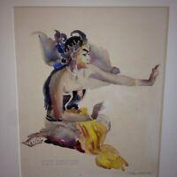 Carl Werntz Illinois WPA Artist Art Deco Illustration Wayang Wong Dancer Java