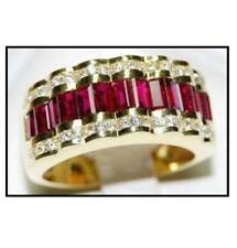 Channel 7Ct Emerald Ruby Simulnt Diamond Engagement Ring Yellow Gold Fnsh Silver