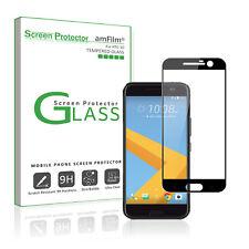 HTC 10 amFilm Premium Full Cover Tempered Glass Screen Protector (1 Pack, Black)