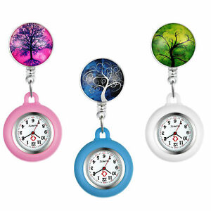 Tree of Life Silicone Nurse Watch Retractable Fob Watch Clip-on Hanging Watch