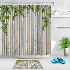 Spring Nature Bamboos and Green Leaves Fabric Shower Curtain Set Bathroom Decor