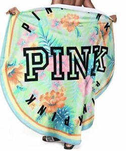 "NIP Victoria's Secret PINK beach towel round 55"" new floral paradise tropical"
