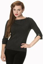 Charcoal Vintage 50s Rockabilly Blouse Retro Addicted Sweater Top Banned Apparel