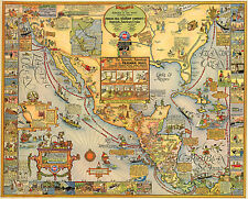 Map of The Spanish Americas on the Panama Mail Steamship Pictorial Poster Wall