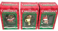 Gibson Christmas Collectibles Ornaments lot of 3 w/ Boxes Mom & Dad Vintage NOS