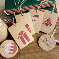 10PCS Christmas Tags Santa Claus Hanging Kraft Paper Label Xmas Favor Gift Card