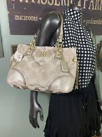 Coach 16475 Colette Signature Sateen Shoulder Carryall Pale Khaki Gold NWT Bag