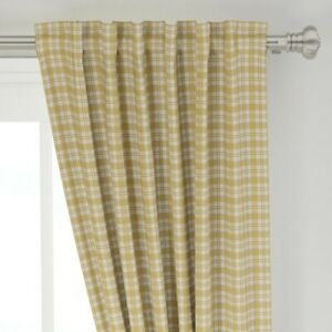 """Maize Yellow Plaid Fall Harvest 50"""" Wide Curtain Panel by Roostery"""