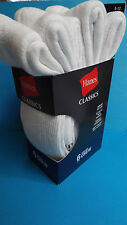 Hanes Classic Cushion White Crew Socks 6 Pairs Fits Shoe Size 6-12