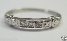 Antique Art Deco Vintage Diamond Wedding Band Platinum Ring Size 5.5 EGL USA