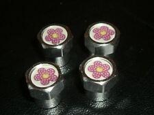 Girly Rosa Flor de aleación de neumáticos Car válvula tapas para todos los coches