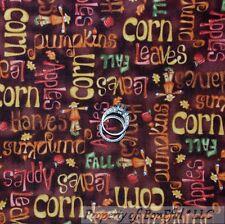 BonEful FABRIC FQ Cotton Quilt VTG Brown Orange Red Fall Apple Word Leaf Pumpkin