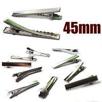 10 20 30 50 x Crocodile Alligator Clips Teeth Hair Bows Slides 45mm Silver DIY