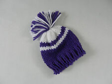 Hand Knit Purple and White Doll Hat fits American Girl, Bitty Baby and similar