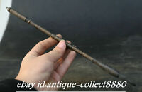 "10.6"" Antique Chinese Bronze Carved Ancient Decorative Pattern Writing Brush Pen"