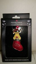 Harvey Lewis Holiday Ornament 2014 made w/ Swarovski Elements Reindeer stocking