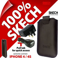 Skech Pouch Pull Tab GENUINE LEATHER Case for iPhone 4S + USB Car +Mains Charger