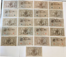 Lot of 21 Green & Red Seal 1910 German 1000 REICHSBANKNOTE BILLS Bank Notes