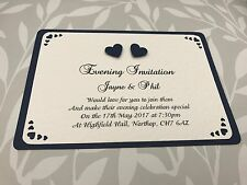 50 Heart Wedding Invites - Navy Embellishments with Cut out Corners & Envelopes