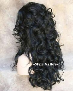 Natural Black 3/4 Fall Hairpiece Layered Long Curly Half Wig Cap Hair piece NWT