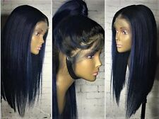 """16"""" Indigo Blue Ombre 7A Malaysian Silky Straight 150% Density Lace Front Wig"""