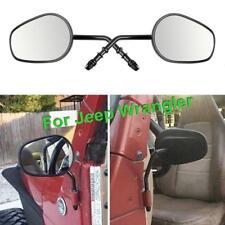 Black Universal Jeep Wrangler Mirror - Custom Mount Door Hinge Side View Mirrors