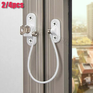 4X Window Door Cable Restrictor Ventilator White Child Safety Security Lock Wire