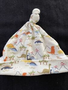 Gymboree Vintage 2007 White/Multicolored Dinosaur Knit Hat-Preemie To 7lbs