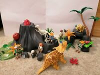 Playmobil Exploding Volcano + Dinosaurs + Figures and lots of accessories. Vgc
