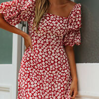 Fashion Lady's Square Neck Puff Sleeve Floral Print Bodycorn Short Mini Dress