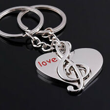 1 PAIR MUSIC TO MY HEART COUPLE KEY CHAIN KEYRING VALENTINE'S DAY GIFT _GG