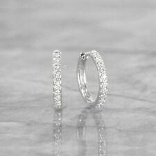 950 Platinum 0.20 Ct. Genuine Diamond 12 mm Hoop Earrings Wedding Fine Jewelry