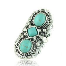 Vintage Tibetan Turquoise Finger Ring Carved Hippy Gypsy Adjustable Ring