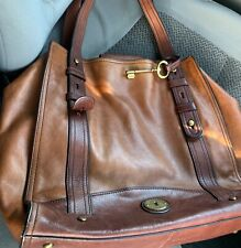 Oversized Large Two Tone Cognac Brown Leather FOSSIL Tote Satchel HANDBAG 👜