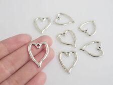 20 x Tibetan Silver Open Heart Charms Pendants Beads 24x19mm