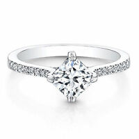 0.76 Ct D/VVS1 Diamond Engagement Ring 14K White Gold Princess Cut Rings Size P