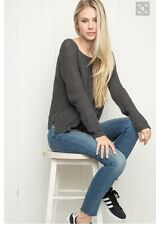Brandy Melville Black cropped boatneck pullover Gwen knit sweater OS