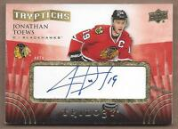 2014-15 UD Trilogy hockey card Jonathan Toews autographed Chicago Blackhawks