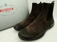 Prada Marrón Gamuza Cuero Tobillo Botas UK9.5 43.5 US10.5 snearkers