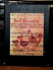 Red Rooster Feed Seed Primitive Rustic Wooden Sign Block Shelf Sitter 3.5X4.5