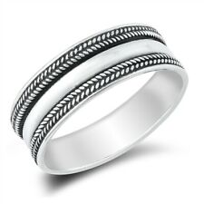 925 Sterling Silver Thumb Ring Unisex Wide Bali Band Sizes 5-10 NEW