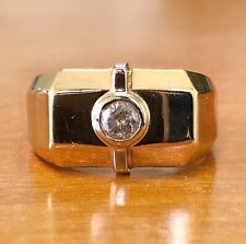 14K Solid Yellow Gold 0.18 Ct Natural Diamond Men's Solitaire Ring