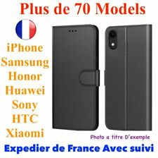 Coque portefeuille cuir housse protection pour iPhone Samsung Sony Xiaomi Sony