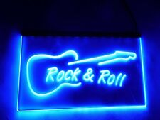 LED Sign Rock n Roll Neon Light Blue Guitar Design Art Picture Rock And Roll UK