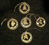Lot Of Vintage 3 Dimensional Die Cut Brass Christmas Ornaments Santa Tree Angel